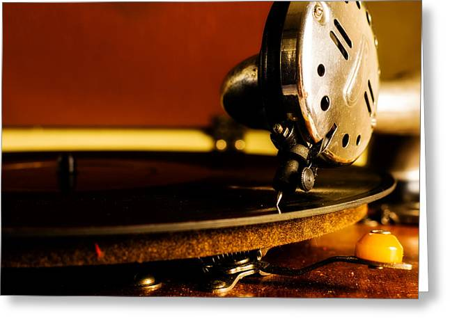 Phonograph Greeting Cards - Birch Brothers Portable Phonograph Greeting Card by Jon Woodhams
