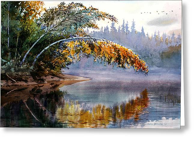 Rivers In The Fall Paintings Greeting Cards - Birch Creek Beauty Greeting Card by Vladimir Zhikhartsev