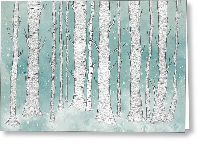 Winter Tree Greeting Cards - Birch Forest Greeting Card by Randoms Print
