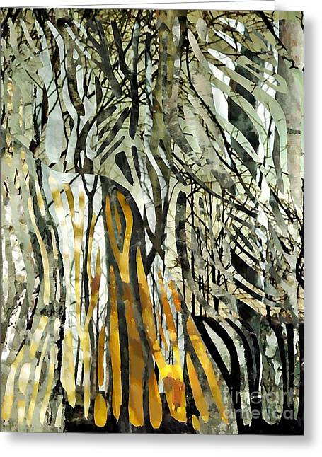 Birch Tree Mixed Media Greeting Cards - Birch Forest Greeting Card by Sarah Loft