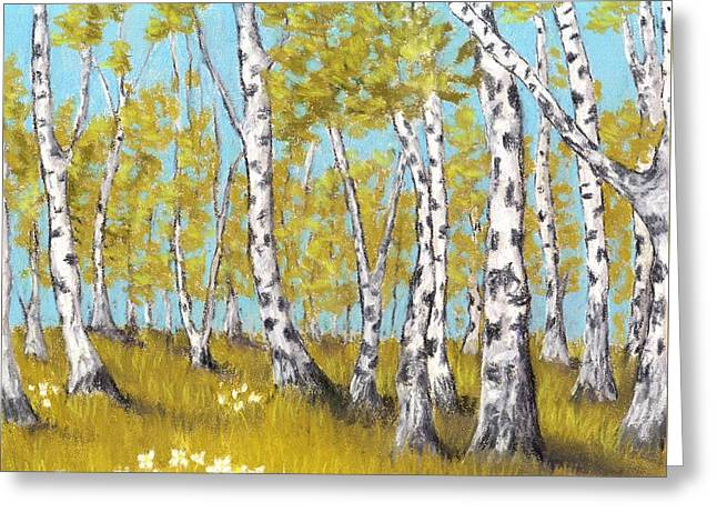 Bear Pastels Greeting Cards - Birch Grove Greeting Card by Anastasiya Malakhova
