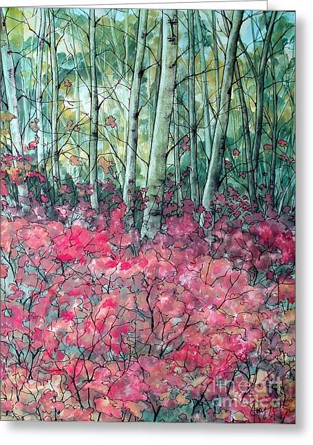 Forest Floor Paintings Greeting Cards - Birch Grove Greeting Card by Joey Nash