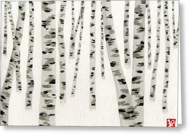 Birch In Snow Greeting Card by Jamie Seul