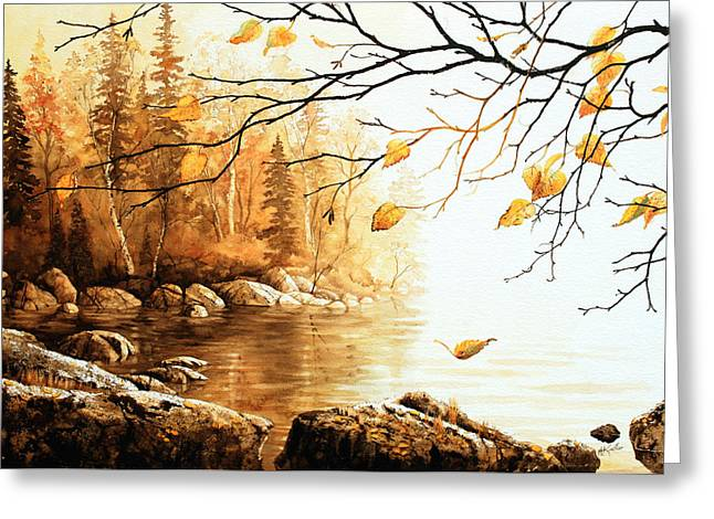 Manitoulin Greeting Cards - Birch Island Mist Greeting Card by Hanne Lore Koehler