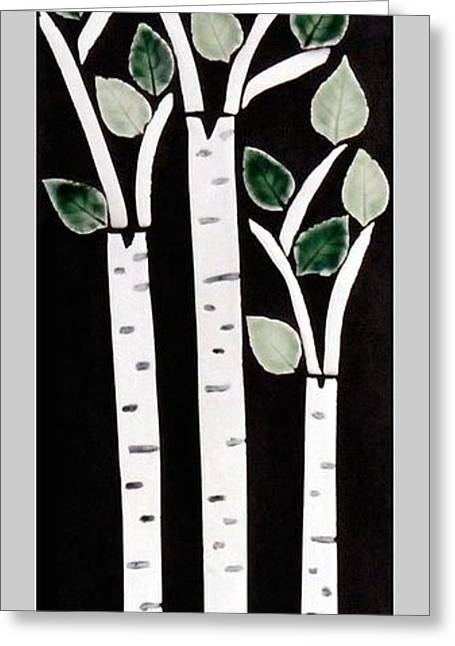 Birch Tree Ceramics Greeting Cards - Birch Greeting Card by Janet Gadallah