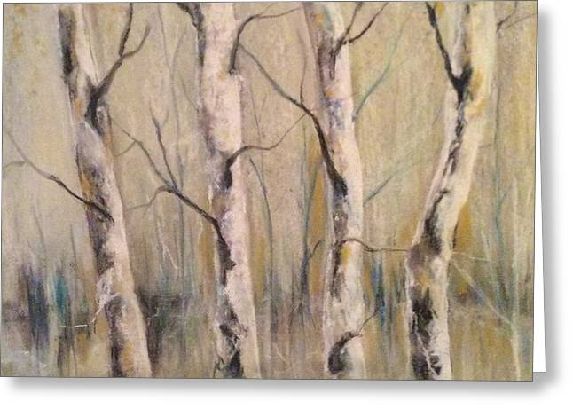 Birch Tree Pastels Greeting Cards - Birch Greeting Card by Lori Bourgault