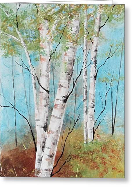 Birch Ridge Greeting Card by Deborah Ronglien