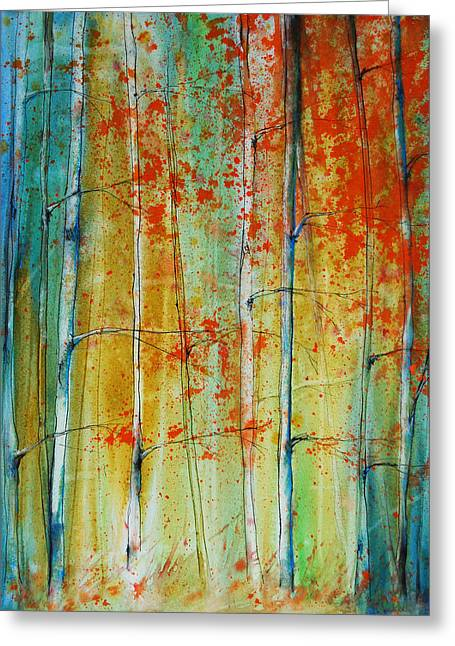 Reds Of Autumn Mixed Media Greeting Cards - Birch Tree Forest Greeting Card by Jani Freimann