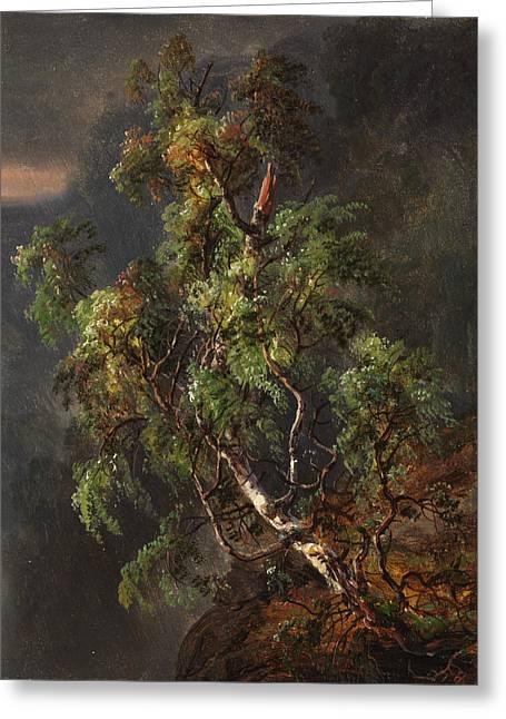 Johan Greeting Cards - Birch Tree in a Storm Greeting Card by Johan Christian Claussen Dahl