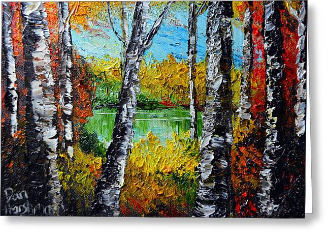 Pallet Knife Greeting Cards - Birch Tree Pond Greeting Card by Dan Harshman
