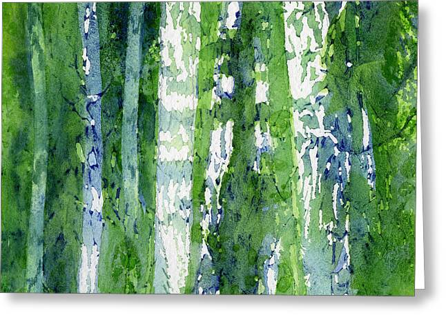 Birch Tree Greeting Cards - Birch Trees Abstract Greeting Card by Sharon Freeman