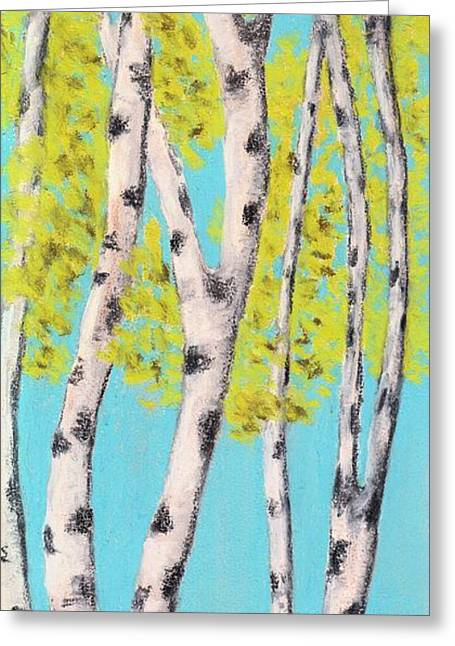 Spring Pastels Greeting Cards - Birch Trees Greeting Card by Anastasiya Malakhova