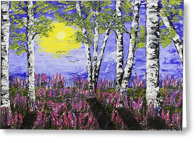 Pink Flower Branch Greeting Cards - Birch Trees And Lupine Flowers Painting Greeting Card by Keith Webber Jr