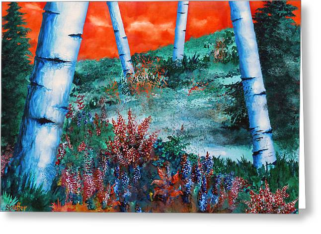Wet On Wet Paintings Greeting Cards - Birch Trees at Sunset Greeting Card by Curtiss Shaffer