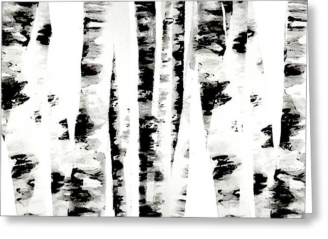 Birch Trees Greeting Card by Budi Satria Kwan