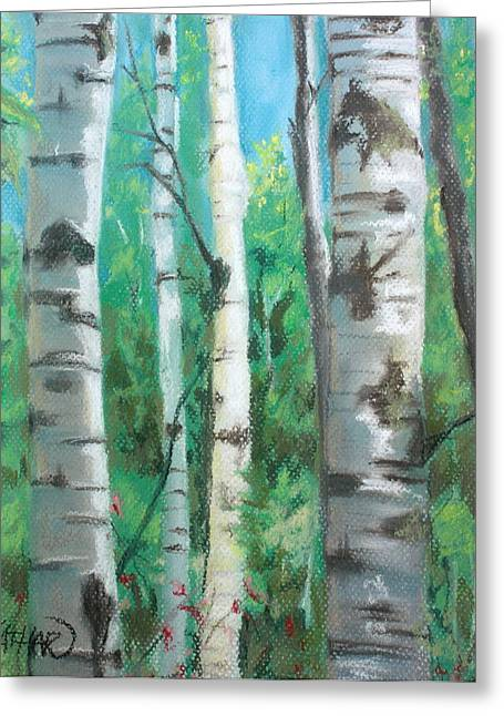 Birch Tree Pastels Greeting Cards - Birch Trees Greeting Card by Kathleen Hartman