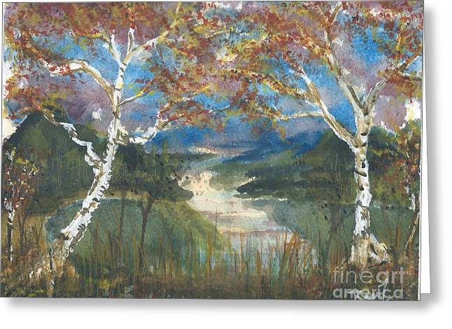Rivers In The Fall Paintings Greeting Cards - Birch Trees on the Ridge by Reed Novotny Greeting Card by Reed Novotny