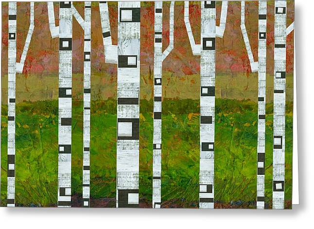 Abedules Greeting Cards - Birch Trees with Green Grass Greeting Card by Michelle Calkins