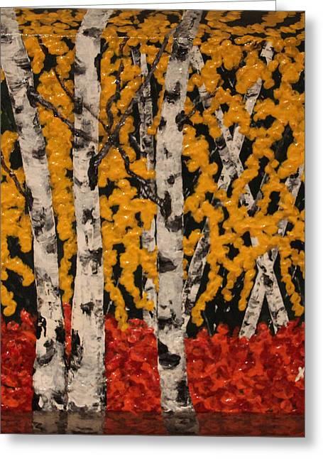 Bevel Greeting Cards - Birch Trees Greeting Card by Zeynep Xeino Eren