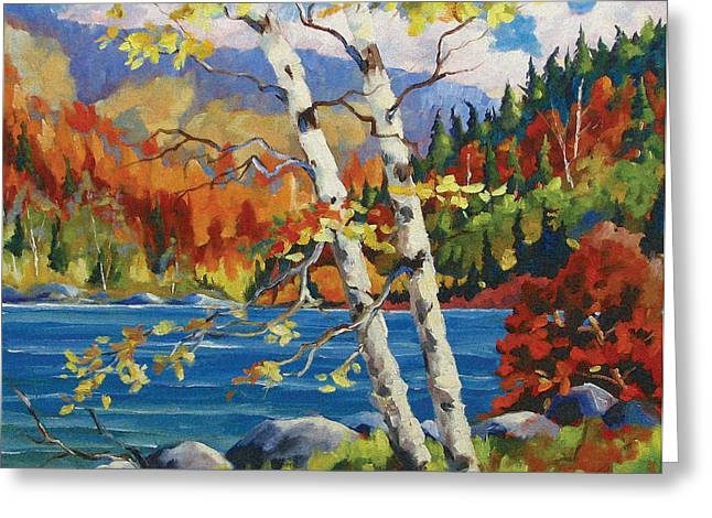 Nature Scene Paintings Greeting Cards - Birches by the lake Greeting Card by Richard T Pranke