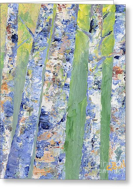 Cbull Greeting Cards - Birches Greeting Card by Claire Bull