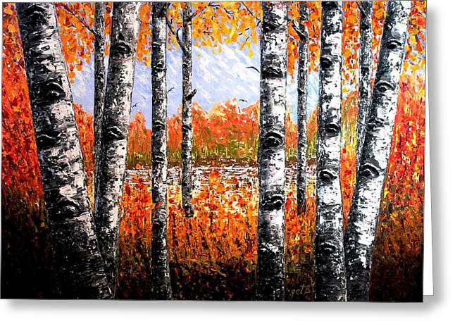 Aspens In Fall Greeting Cards - Birches Forest palette knife painting Greeting Card by Georgeta Blanaru