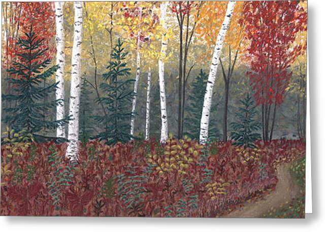 Fall Colors Pastels Greeting Cards - Birches Greeting Card by George Burr