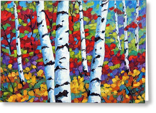 Birches in abstract by Prankearts Greeting Card by Richard T Pranke