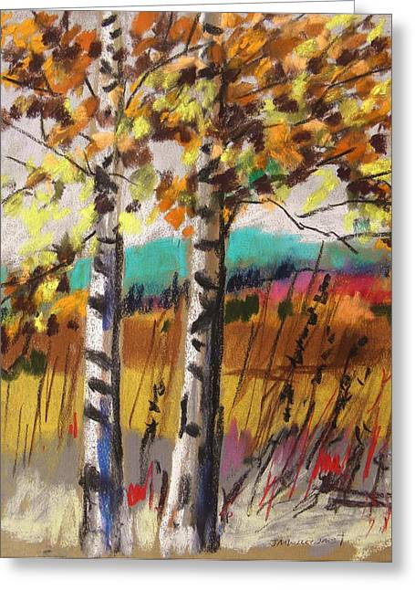 Birch Tree Pastels Greeting Cards - Birches in Autumn Light Greeting Card by John  Williams