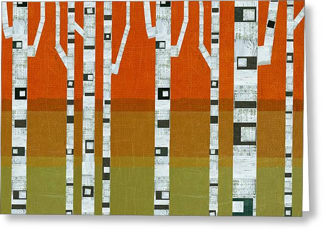 Abedules Greeting Cards - Birches in the Hills Greeting Card by Michelle Calkins