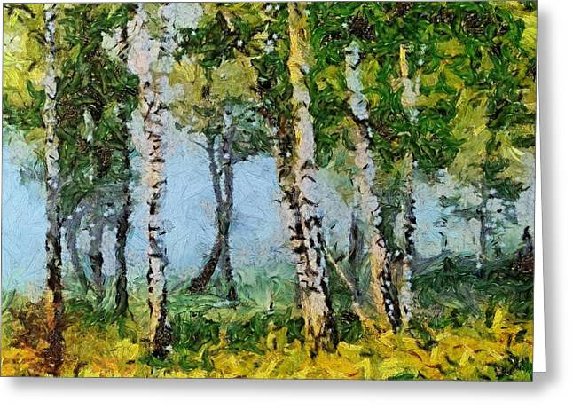 Van Gogh Style Greeting Cards - Birches in the spring Greeting Card by Dragica  Micki Fortuna
