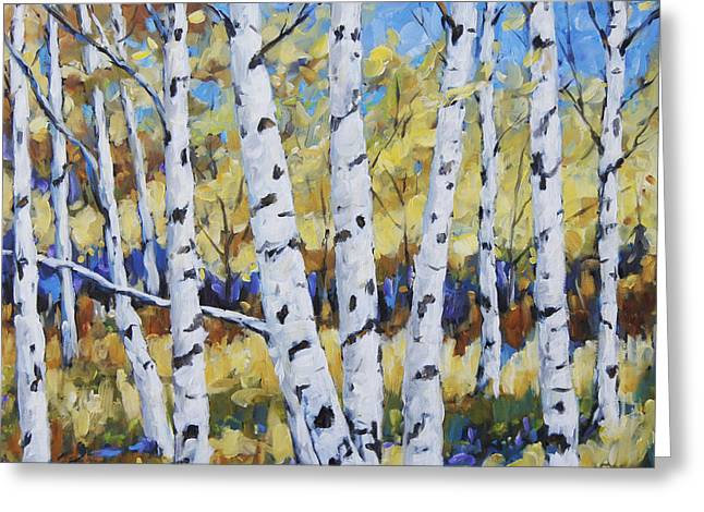 Lanscape Paintings Greeting Cards - Birches in the Underwood  Greeting Card by Richard T Pranke