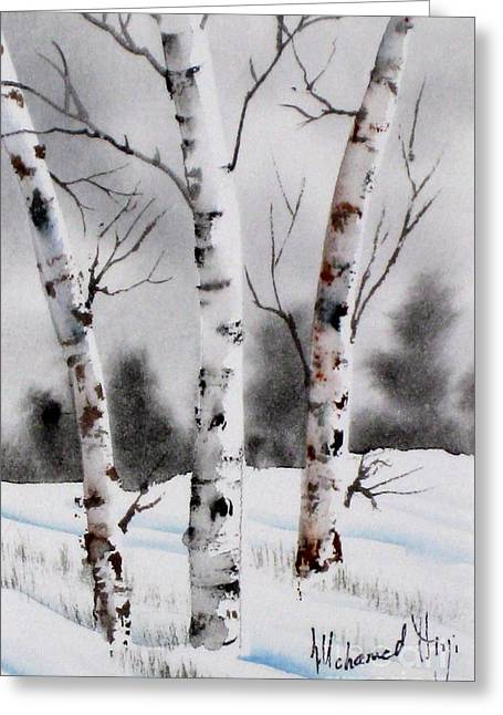 Winter Scenes Rural Scenes Greeting Cards - Birches Greeting Card by Mohamed Hirji