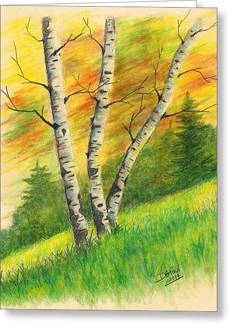 Birch Tree Drawings Greeting Cards - Birches On A Hill Greeting Card by David G Paul