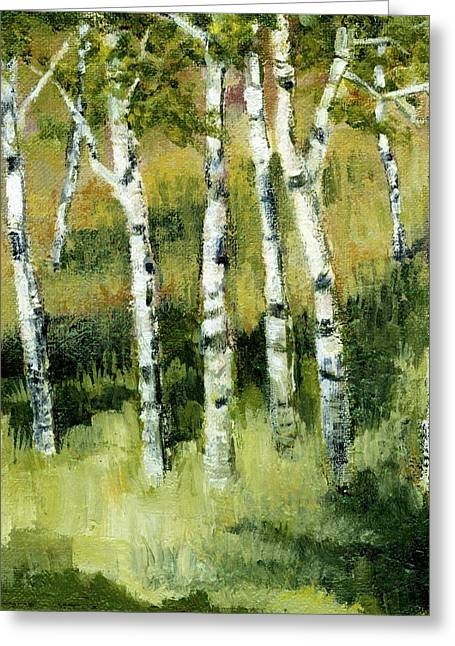 Branch Hill Greeting Cards - Birches on a Hill Greeting Card by Michelle Calkins