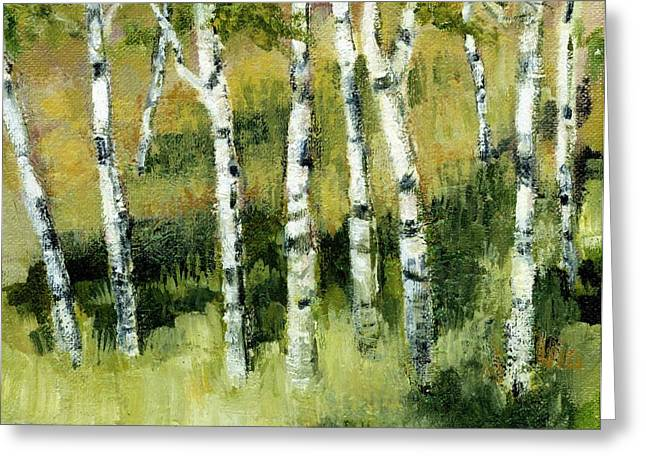 Birches on a Hill Greeting Card by Michelle Calkins