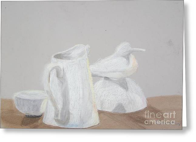 Bowl Pastels Greeting Cards - Bird and Pitcher Greeting Card by Christopher Murphy