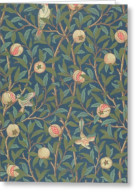 Leaves Tapestries - Textiles Greeting Cards - Bird and Pomegranate Greeting Card by William Morris