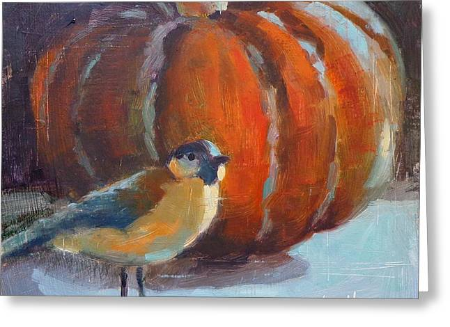 Donna Shortt Greeting Cards - Bird and the Pumpkin Greeting Card by Donna Shortt