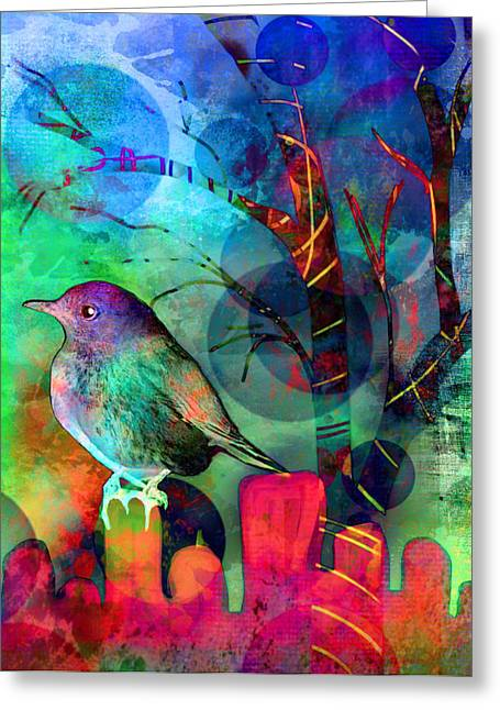 Layer Greeting Cards - Bird at Dusk Greeting Card by Robin Mead