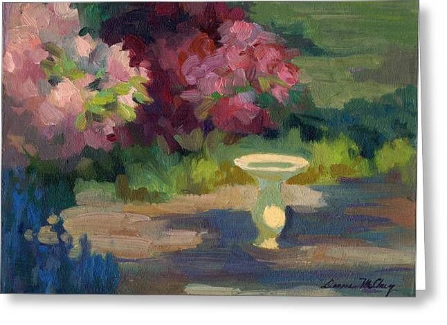 Birdbath Greeting Cards - Bird Bath and Rhodies Greeting Card by Diane McClary
