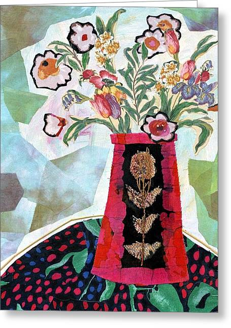 Diane Fine Greeting Cards - Bird Blossom Vase Greeting Card by Diane Fine