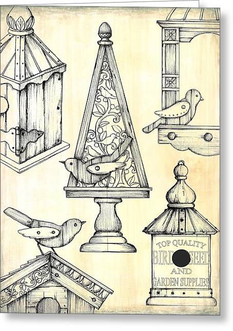 Flower Boxes Drawings Greeting Cards - Bird Boxes Greeting Card by Mark Davies