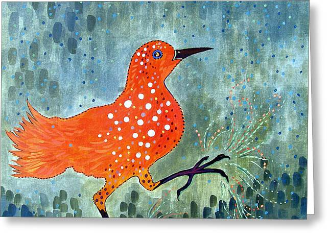 Puddle Drawings Greeting Cards - Bird Brain Rain Dance Greeting Card by Susan Greenwood Lindsay