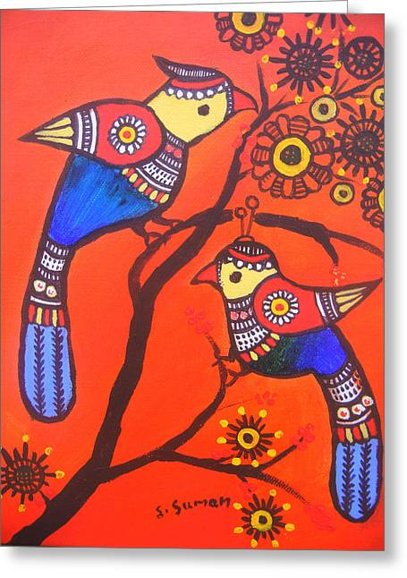 Bird On Tree Greeting Cards - Bird Couple-children Room Decoration Greeting Card by Shishu Suman