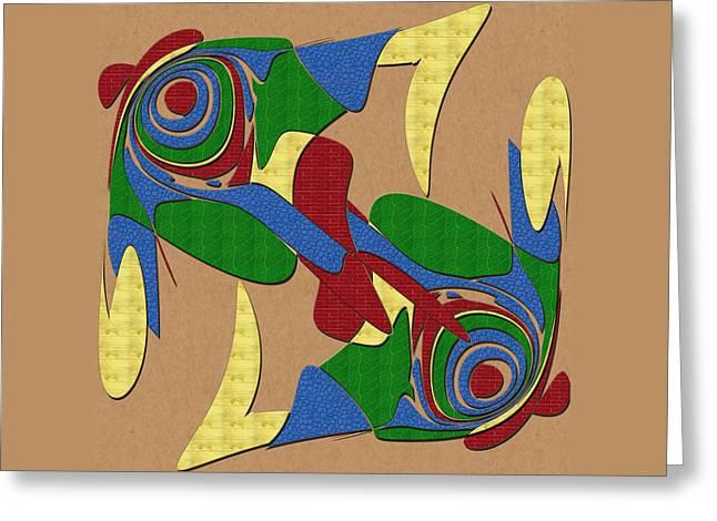 Masking Digital Art Greeting Cards - Bird Dance Greeting Card by John Haldane