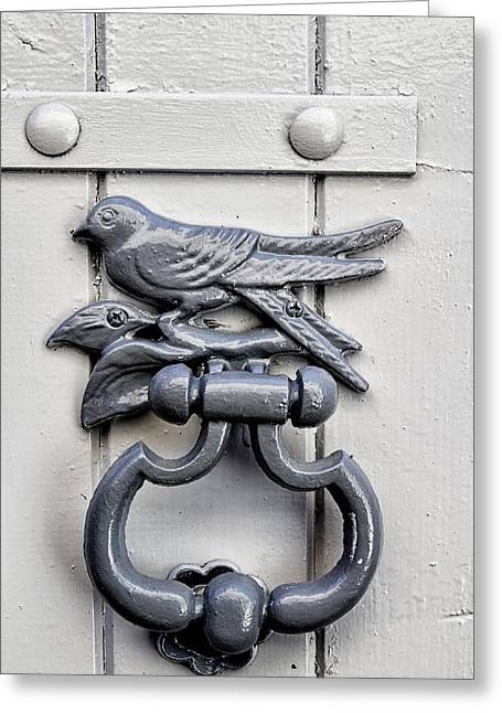 French Door Greeting Cards - Bird Door Knocker Greeting Card by Nomad Art And  Design