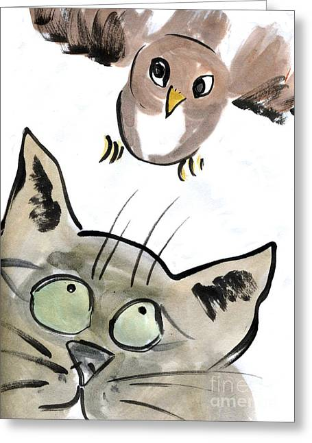 Best Sellers -  - Pictures Of Cats Greeting Cards - Bird Greeting Card by Ellen Miffitt