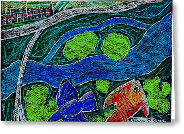 Bird Flying Over Landscape And Fish Swimming In River  Greeting Card by Genevieve Esson
