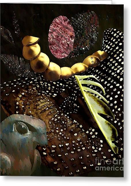 Brown Tones Mixed Media Greeting Cards - Bird God Greeting Card by Sarah Loft